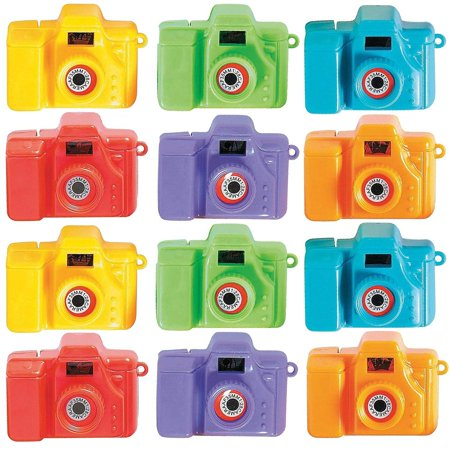 Plastic Mini Clicking Cameras - Pack Of 12 - 2 Inches, Assorted Colors - View Pictures Of Animals - For Kids Boys And Girls, Great Party Favors, Fun, Toy, Gift, Prize, School Reward - By Kidsco - Party Animal Toys