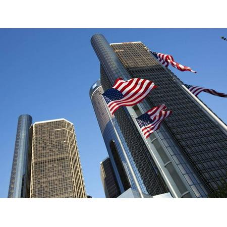 American Flags, General Motors Corporate Headquarters, Renaissance Center, Detroit, Michigan, Usa Print Wall Art By Paul