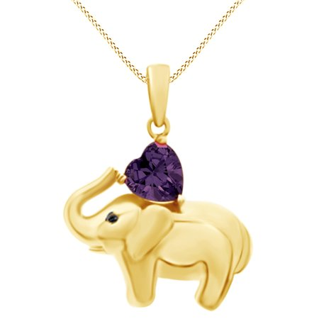 Amethyst Elephant - Valentine's Day Elephant Pendant Necklace Heart Shaped Simulated Amethyst CZ 14K Yellow Gold Over Sterling Silver