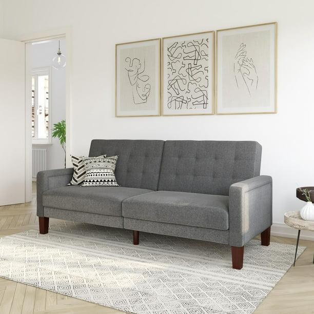 Better Homes & Gardens Porter Fabric Tufted Futon, Gray