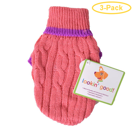 Fashion Pet Cable Knit Dog Sweater - Pink XXX-Small (4 From Neck Base to Tail) - Pack of 3](Fake Dog Tail)