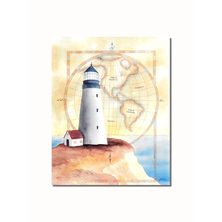 Lighthouse and Cottage on Cliff with Map #2 Wall Picture 8x10 Art Print ()