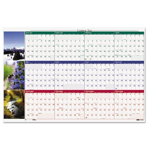 Earthscapes Nature Scene Reversible/Erasable Yearly Wall Calendar HOD3931