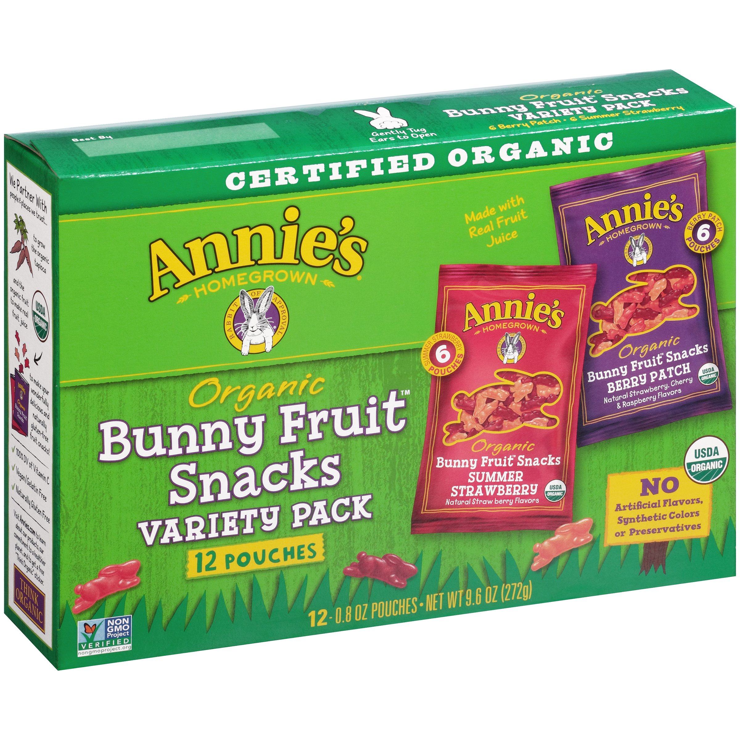 Annie's® Organic Bunny Fruit Snacks, Variety Pack, 9.6 Oz, 12 Ct