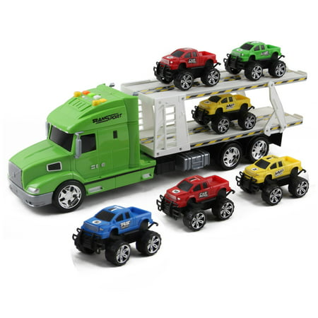 Vokodo Toy Semi Truck And Trailer 20 Inch Push And Go With Lights And Sounds Includes 6 Pickup Cars Kids Big Rig Auto Carrier Vehicle Pretend Play Great Gift For Preschool Children Boys Girls Toddlers Little Big Truck