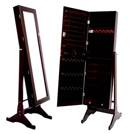Beauty Acrylic Mirrored Jewelry Cabinet Armoire with Stand, 18 L x 16 W x 58 H Inch, Brown ()