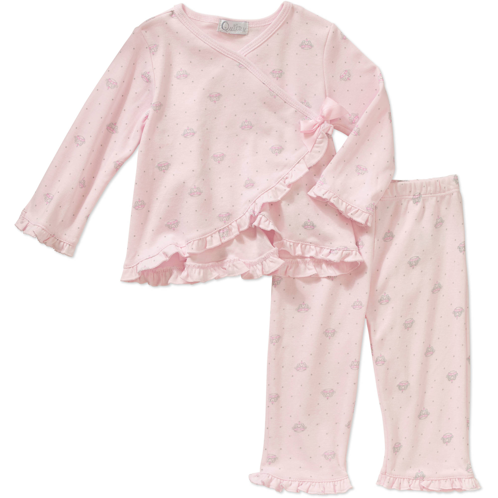 Quiltex Newborn Baby Girl Glitter Crown Ruffle Trim Kimono Top and Pant Set