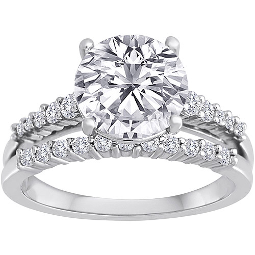 Pure Perfection Certified Bridal Ring with Brilliant Center Stone Made with Swarovski Zirconia