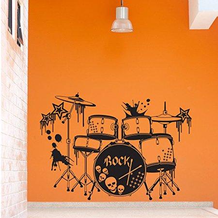 Drums Wall Decal Music Wall Sticker Musical Vinyl Wall Art Home Decor