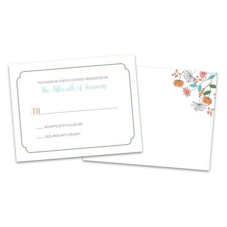 Personalized Floral Border Wedding RSVP - Border Rsvp Cards