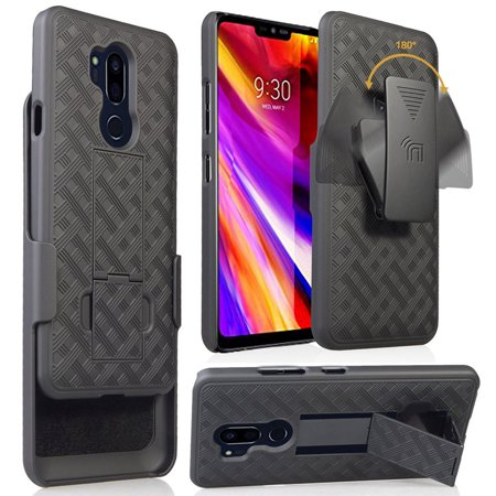 in stock e29dc 154b3 LG G7 ThinQ Case with Clip, Nakedcellphone Black Kickstand Cover + Belt Hip  Holster for LG G7 ThinQ Phone, G710, G7 Plus, G7+