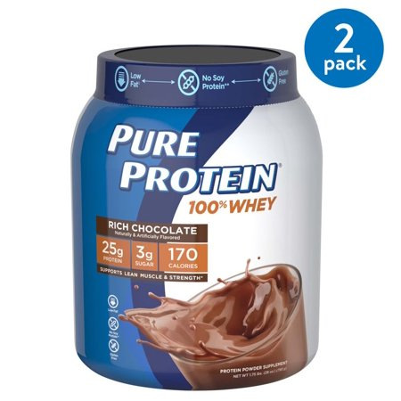 (2 Pack) Pure Protein 100% Whey Protein Powder, Rich Chocolate, 25g Protein, 1.75