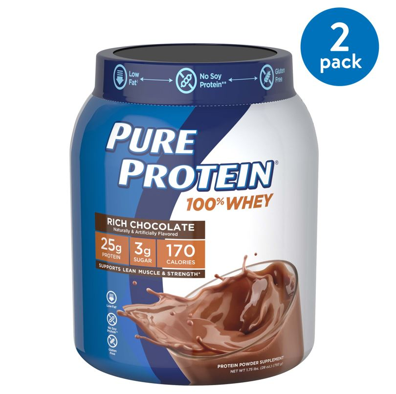 (2 Pack) Pure Protein 100% Whey Protein Powder, Rich Chocolate, 25g Protein, 1.75 Lb