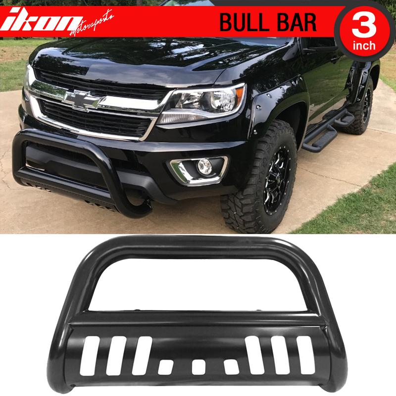 Ikon Motorsports Bull Bar Grille Guard - Fits 15-18 Colorado Black Bull Bar