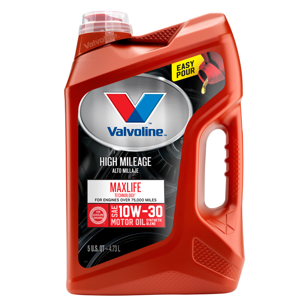 Valvoline High Mileage with MaxLife Technology SAE 10W-30 Synthetic Blend Motor Oil - Easy Pour 5 Quart