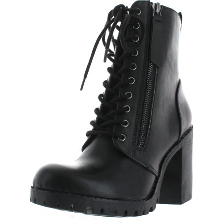 Black Perforated Leather Ankle Boots (Soda Women's Malia Faux Leather Lace Up Chunky Ankle Boot )