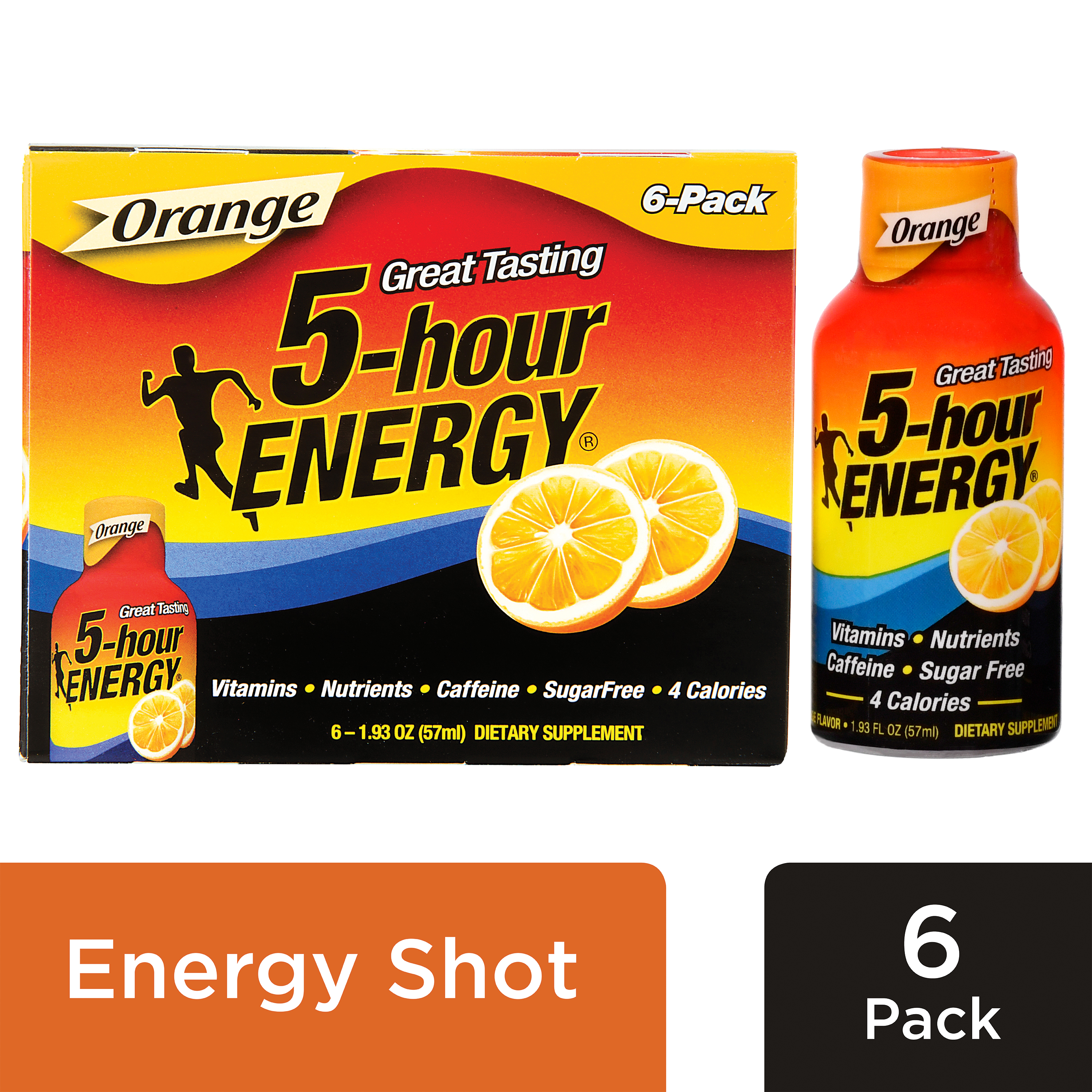 5-Hour Energy Shot, Orange, 1.93 Fl Oz, 6 Ct
