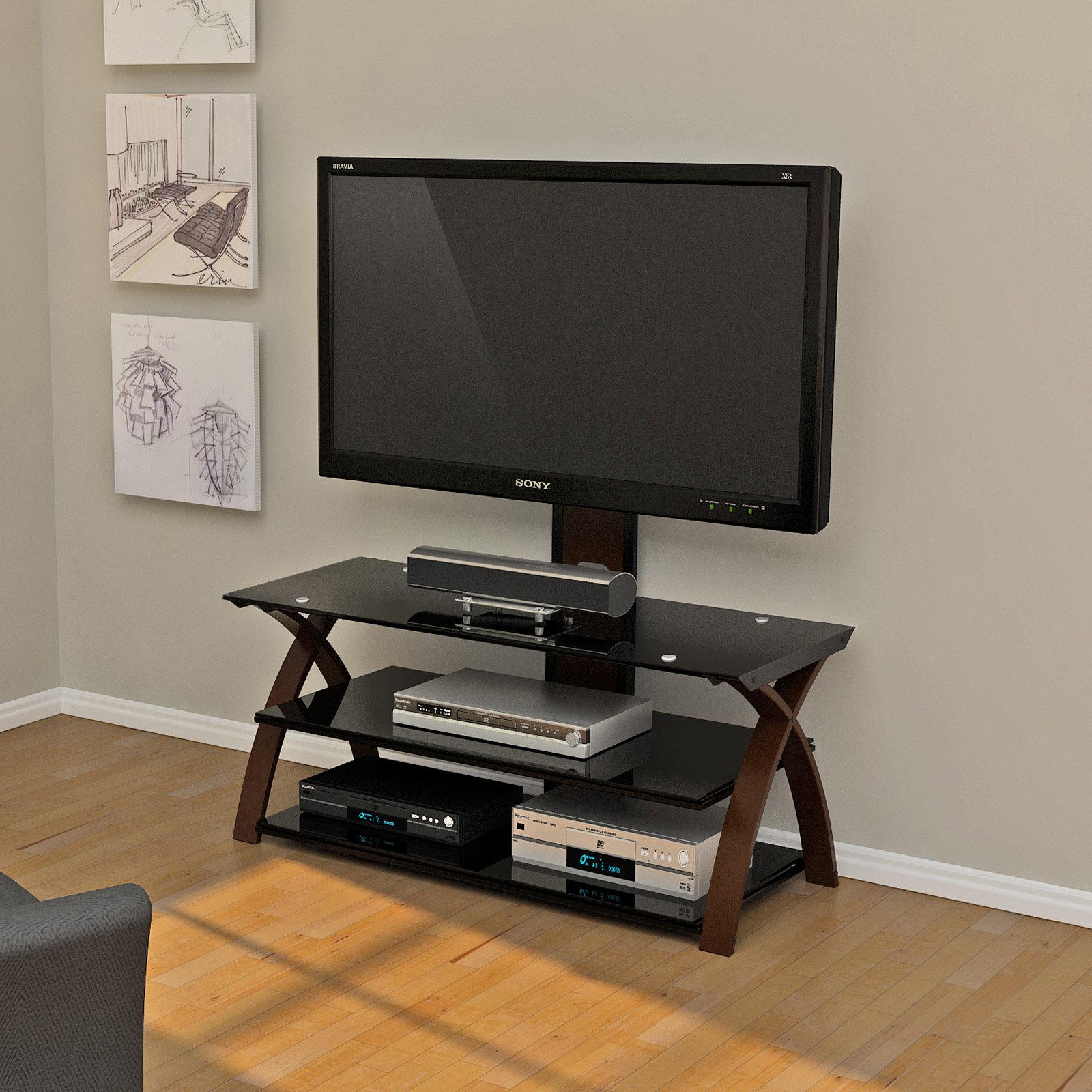 Z-Line Willow Flat Panel 3 in 1 Television Mount System - Espresso