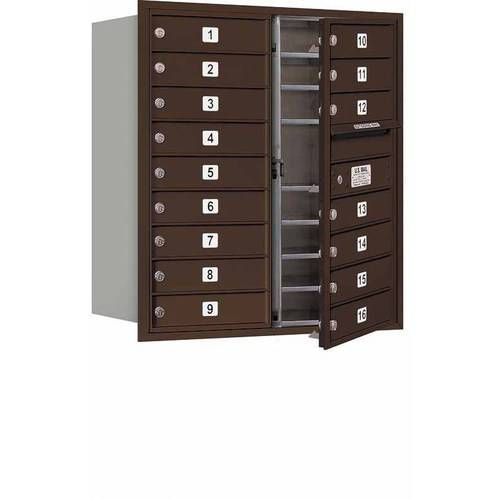 "Salsbury Industries 4C Horizontal Mailbox 9-Door High Unit (34""), Double Column, 16 MB1 Doors, Aluminum, Front Load, USPS Access"