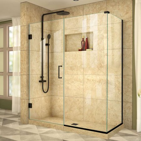 DreamLine Unidoor Plus 55 1/2 in. W x 30 3/8 in. D x 72 in. H Frameless Hinged Shower Enclosure in Satin Black