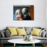 """Black Framed Canvas Giclee Print Art The Lovers 1928 by Rene Magritte 24""""x32"""""""