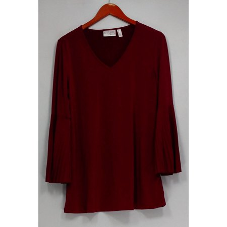 Attitudes by Renee Top Sz S Jersey Knit w/ Pleated Bell Sleeves Wine Red A298663