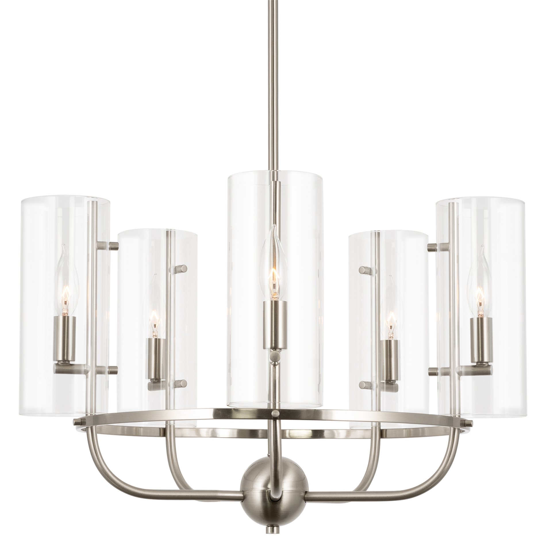 Image of: Kira Home Inara 22 5 Large Round 5 Light Modern Chandelier Clear Glass Shades Adjustable Height Brushed Nickel Walmart Com Walmart Com