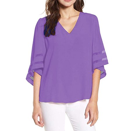 SAYFUT Women's V Neck Lace Blouse Chiffon Shirt 3/4 Bell Sleeve Loose Tops Sexy Lace Patchwork Shirt - Madras Patchwork Shirt