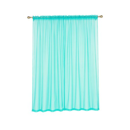 BalsaCircle 2 pcs 52 x 96-Inch Sheer Organza Curtains Drapes Panels Window Treatments - Home Decorations - Blue And Yellow Curtains