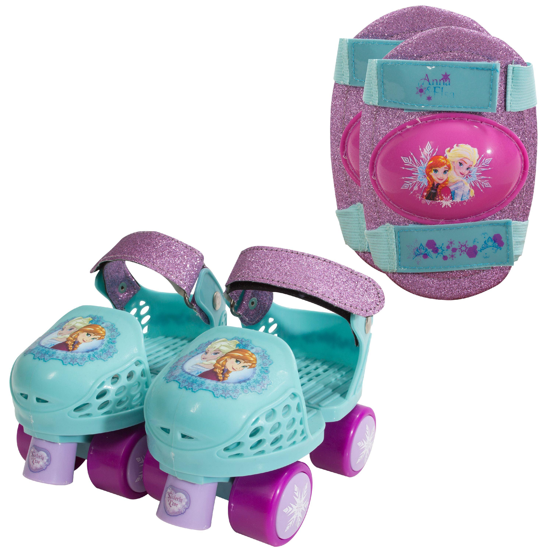 Disney Frozen Kids Glitter Rollerskates with Knee Pads, Junior Size 6-12 by Bravo Sports