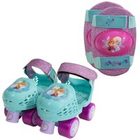 Disney Frozen Kids Glitter Rollerskates with Knee Pads, Junior Size 6-12