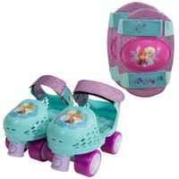 Disney Frozen Kids Glitter Rollerskates with Knee Pads, Junior Size 6-12