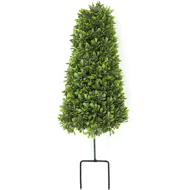 Faux Foliage Boxwood Topiary Stake - Floral Lawn Ornament