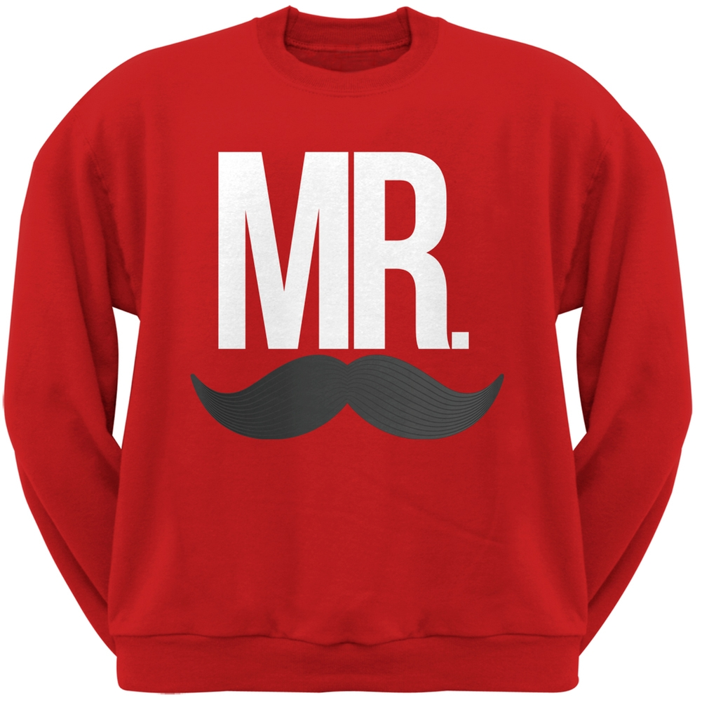 Mr. Mustache Red Crew Neck Sweatshirt