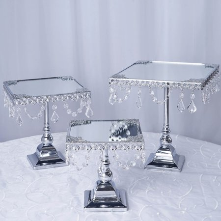 Efavormart Set of 3 Silver Square Mirror Top Cup Cake Riser Centerpiece Stand Wedding Birthday Party Dessert Rise Cake Stand