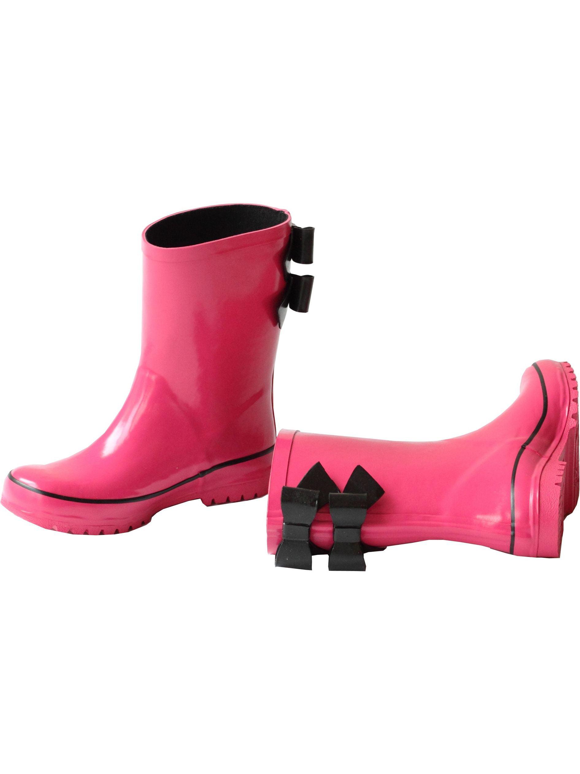 Pluie Pluie Girls Rain Fuchsia Black Double Bow Rain Girls Boots 5-10 Toddler d6406c