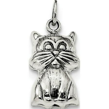 925 Sterling Silver Antiqued Cat (10.25x20.15mm) Pendant / Charm - image 1 de 1