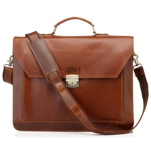 Vicenzo Leather NEW Tan Professional Full Grain Leather Briefcase Messenger Bag
