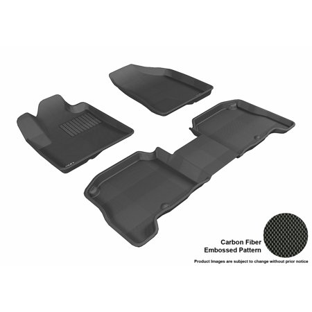 3D MAXpider 2007-2009 Hyundai Santa Fe Front & Second Row Set All Weather Floor Liners in Black with Carbon Fiber Look