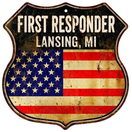 LANSING, MI First Responder American Flag 12x12 Metal Shield Sign S122517 ()