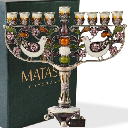 Hand Painted Enamel Menorah Candelabra with a Doves and Flower Design and Embellished with Gold Accents and High Quality Crystals by Matashi