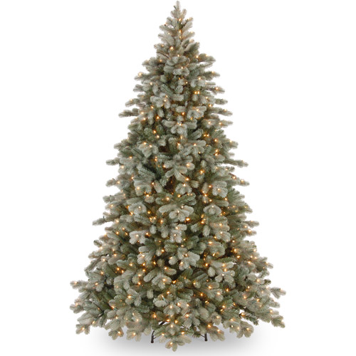 National Tree Pre-Lit 7-1/2' Poly Frosted Colorado Spruce Hinged Artificial Christmas Tree with 750 Clear Lights