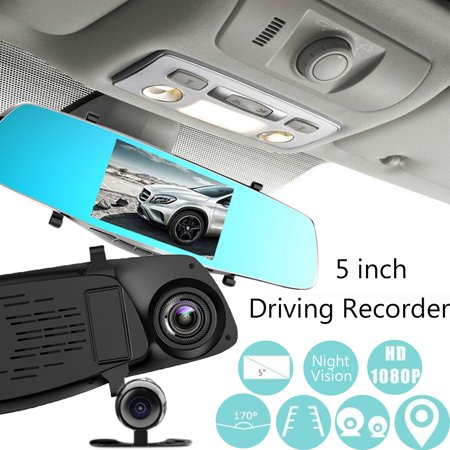 5'' 1080P Car DVR Dual Lens Camera Rear View Mirror Video Dash Cam Recorder Cam - image 2 of 5