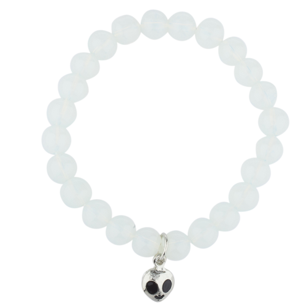 Lux Accessories White Opal Beaded Stretch Bracelet Silver Tone Alien Charm by Lux Accessories