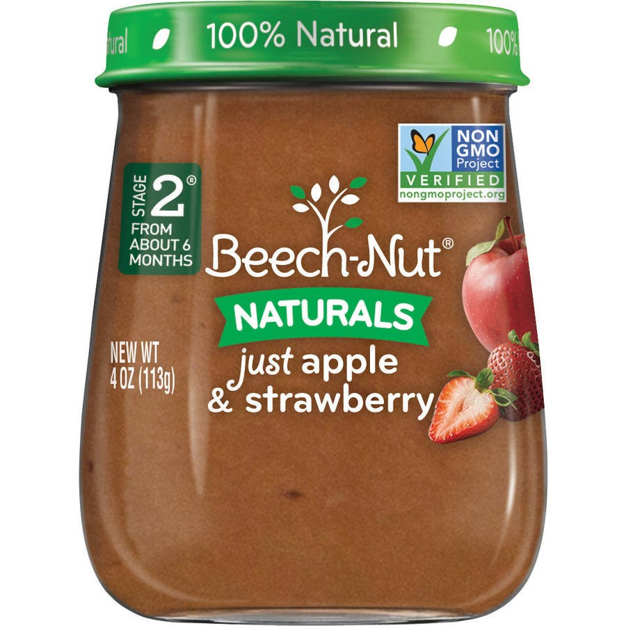 Beech-Nut Naturals Stage 2 Just Apple & Strawberry Baby Food, 4.0 oz, (Pack of 10)