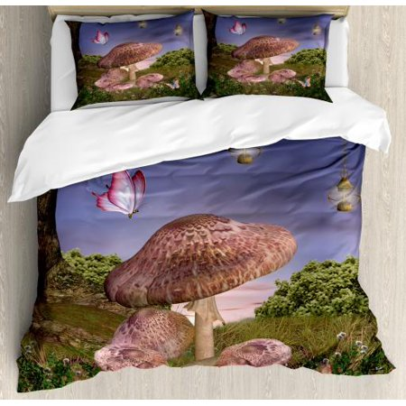 Fantasy King Size Duvet Cover Set, Enchanted Forest with Butterflies and Mushroom Magic Fairy Tale Style Illustration, Decorative 3 Piece Bedding Set with 2 Pillow Shams, Multicolor, by