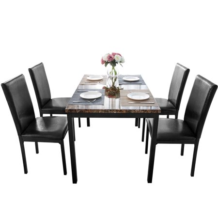 5 Piece Metal Kitchen Table Set for 4 Persons, Faux Marble Rectangular Breakfast Table with 4 Piece Upholstered Dining Chairs, Dining Table and Chairs with Metal Legs & Black Finish Frame, S12518