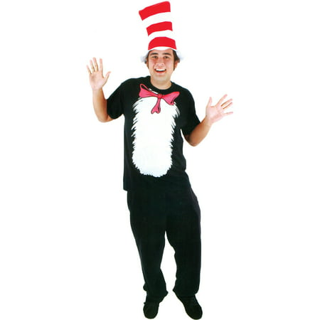 Cat in the Hat Shirt Adult Halloween Costume](Cat Whiskers Costume)