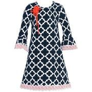Rare Editions Little Girls Navy White Quatrefoil Flower Dress 2T