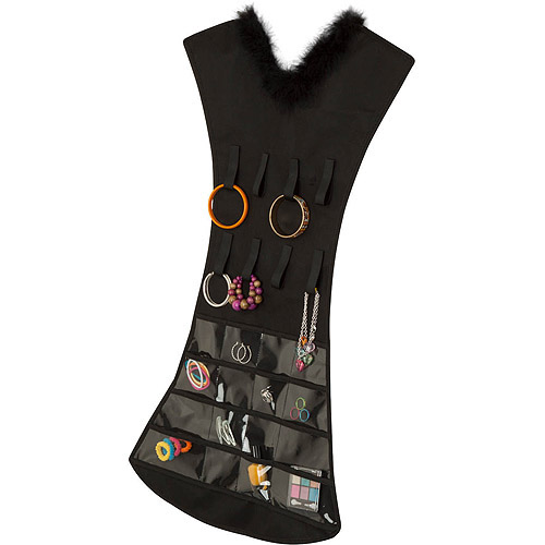 Honey Can Do Dress Jewelry Organizer with 16 Pockets Black